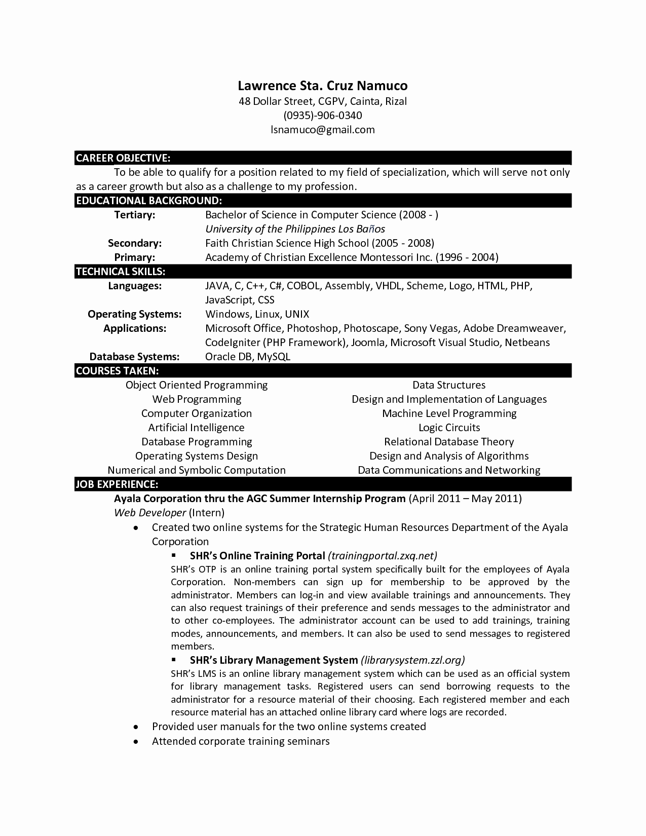 Computer Science Resume Templates Luxury Puter Science Resume Templates