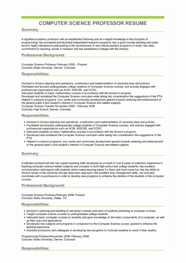 Computer Science Resume Templates New Sample Puter Science Professor Resume