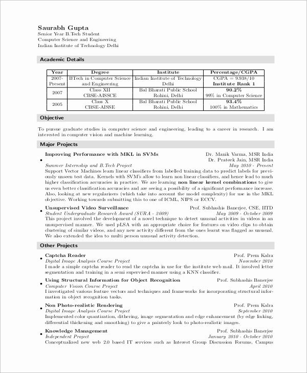Computer Science Resume Templates Unique Sample Puter Science Resume 8 Examples In Word Pdf
