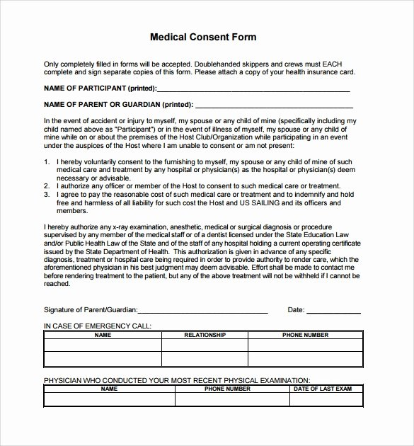 Consent to Treat form Template Beautiful Sample Medical Consent form 13 Free Documents In Pdf