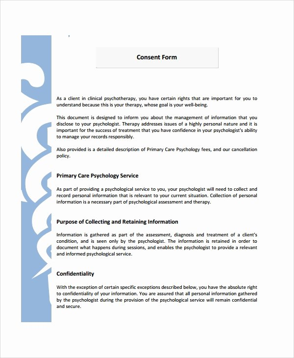Consent to Treat form Template Best Of 8 Psychology Consent forms