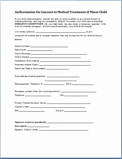 Consent to Treat form Template Best Of Sample Child Consent forms Templates