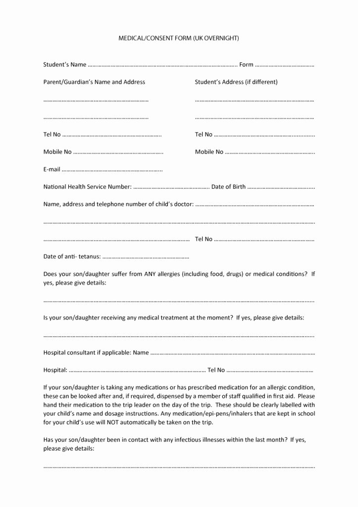 Consent to Treat form Template Fresh 45 Medical Consent forms Free Printable Templates