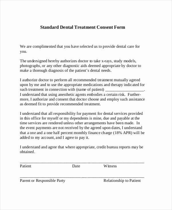 Consent to Treat form Template Fresh Sample Dental Consent forms 10 Free Documents In Pdf