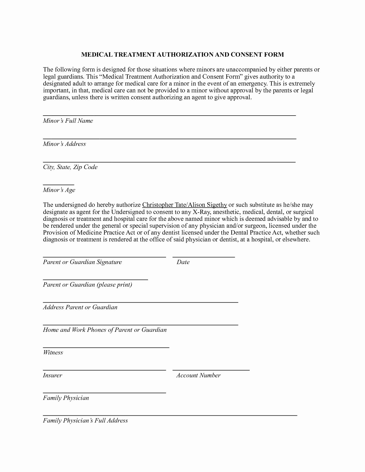 Consent to Treat form Template Lovely Medical Authorization form