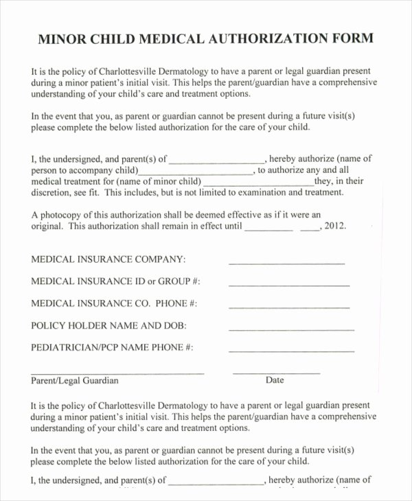 Consent to Treat form Template Luxury 10 Printable Medical Authorization forms Pdf Doc