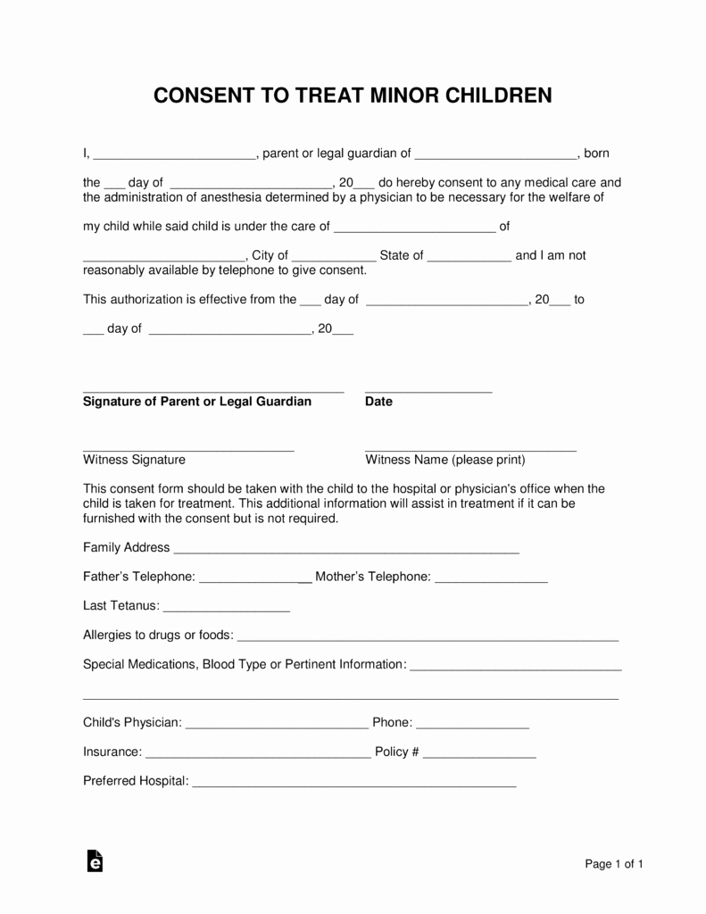 Consent to Treat form Template New Free Minor Child Medical Consent form Word