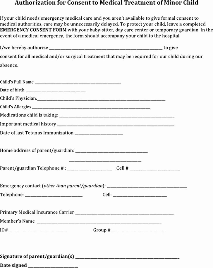 Consent to Treat form Template Unique 3 Child Medical Consent form Free Download