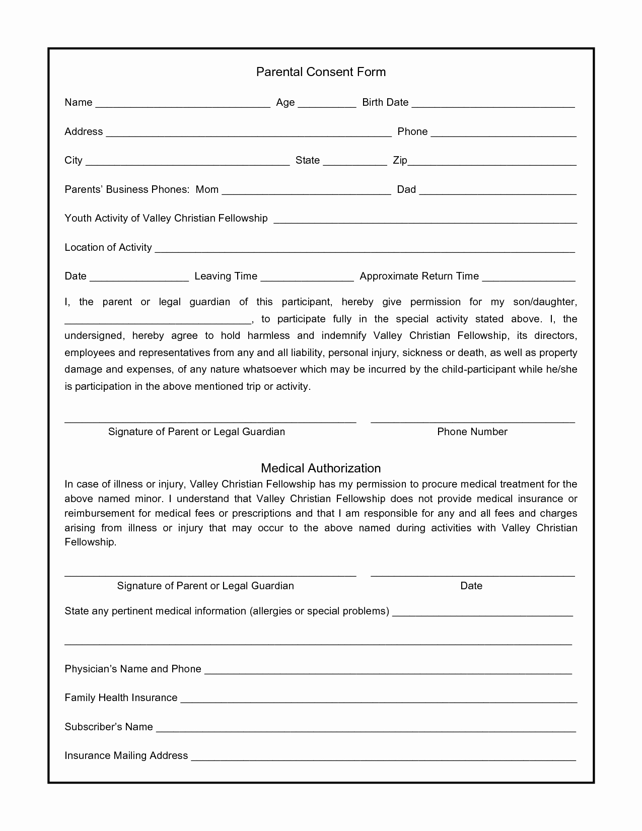 Consent to Treat form Template Unique Parental Consent form for S Swifter Parental