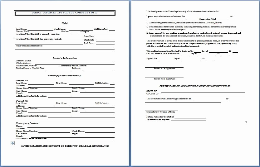 Consent to Treat form Template Unique Sample Medical Consent form