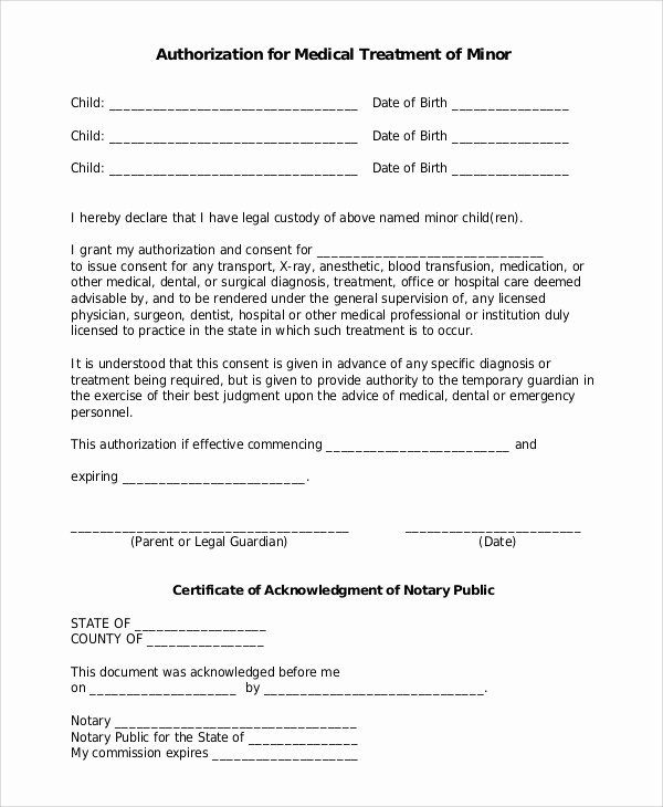 Consent to Treat form Template Unique Sample Medical forms 9 Examples In Word Pdf