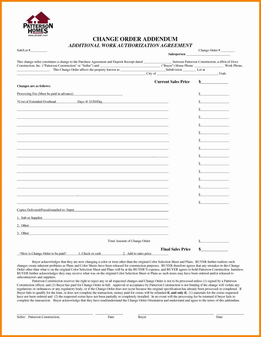 Construction Change order Template Elegant Construction Change order form