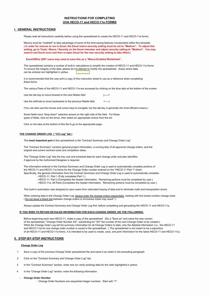Construction Change order Template Excel Beautiful Download Contract Summary Change order Excel Template for