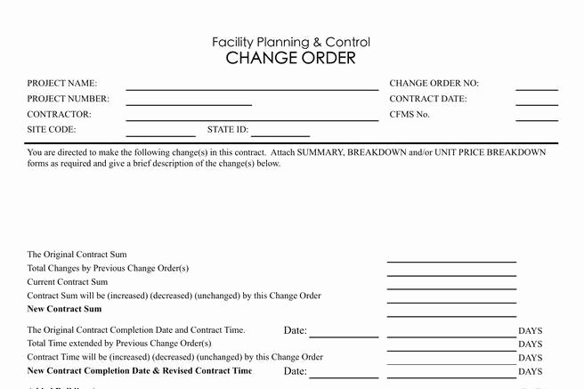 Construction Change order Template Excel Inspirational 11 Change order Template Free Download