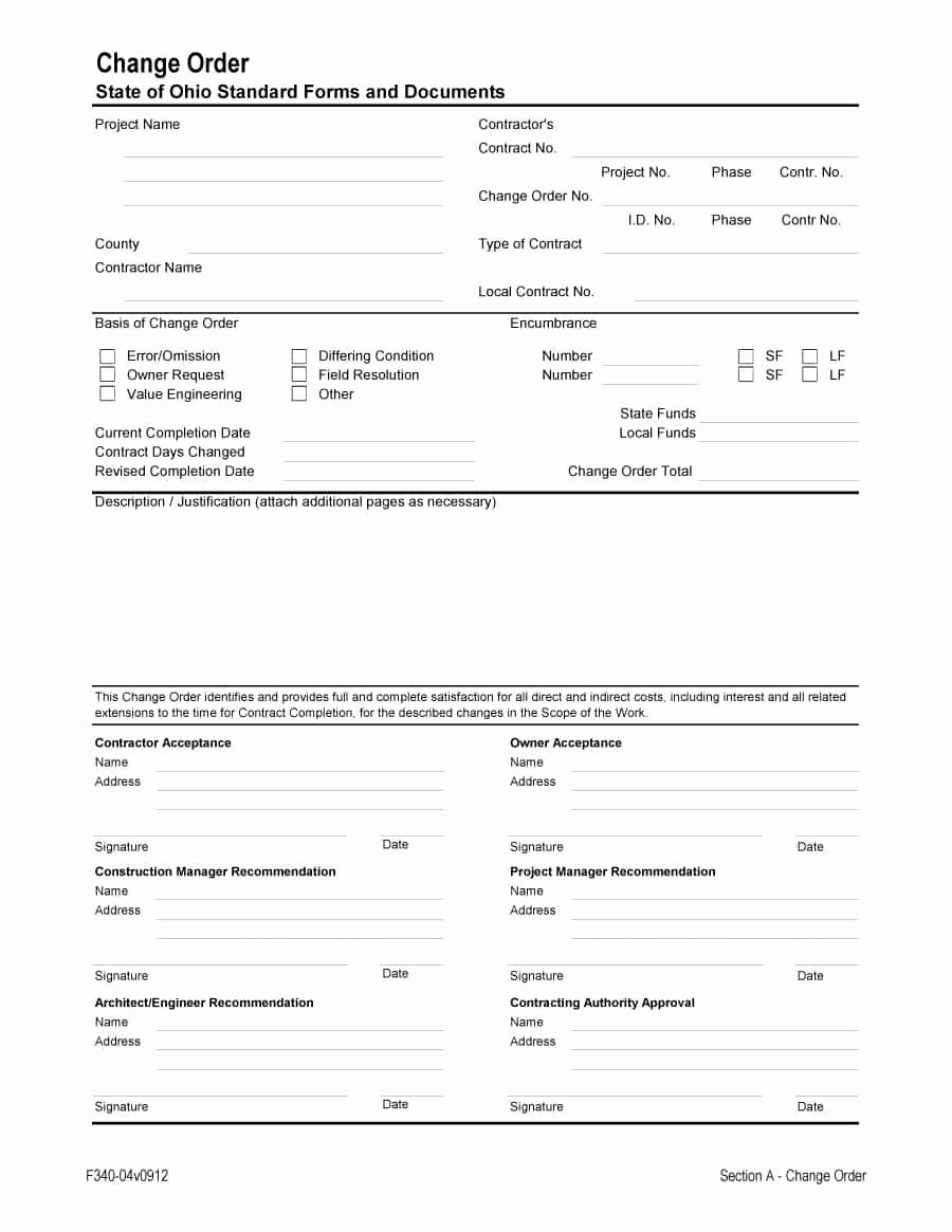 Construction Change order Template Luxury 40 order form Templates [work order Change order More]