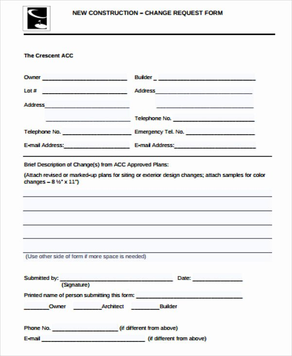 Construction Change order Template Luxury Sample Construction Change order form 7 Examples In