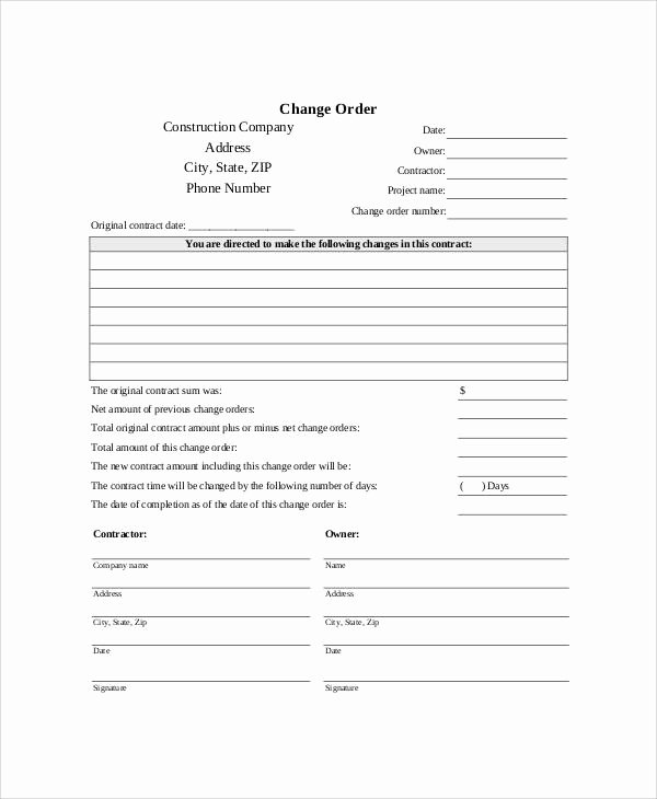 Construction Change order Template Luxury Sample Free Printable order form 9 Examples In Word Pdf