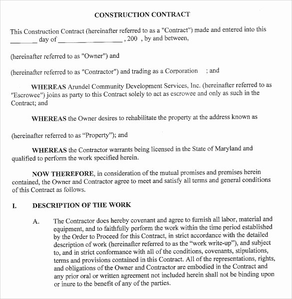 Construction Contract Template Word Best Of Sample Contract Template 8 Download Free Documents In