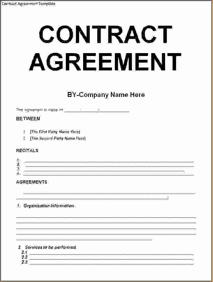 Construction Contract Template Word Lovely Agreement Contract