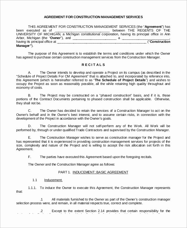 Construction Contract Template Word Unique 9 Sample Construction Management Agreements Word Pdf