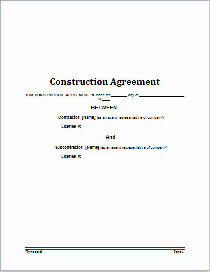 Construction Contract Template Word Unique Construction Contract Template for Word