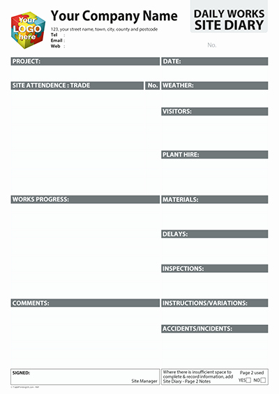 Construction Daily Log Template New Contactor Daily Log Works Site Diary Template Artwork