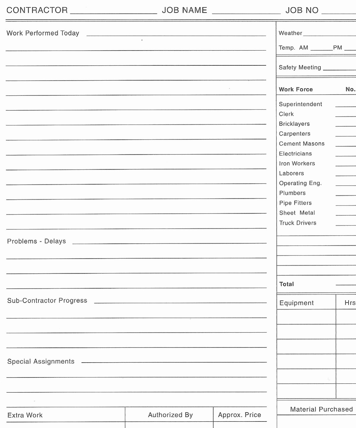 """Construction Daily Log Template Unique Anyone Have A Copy A """"ticket"""" for Work Performed"""