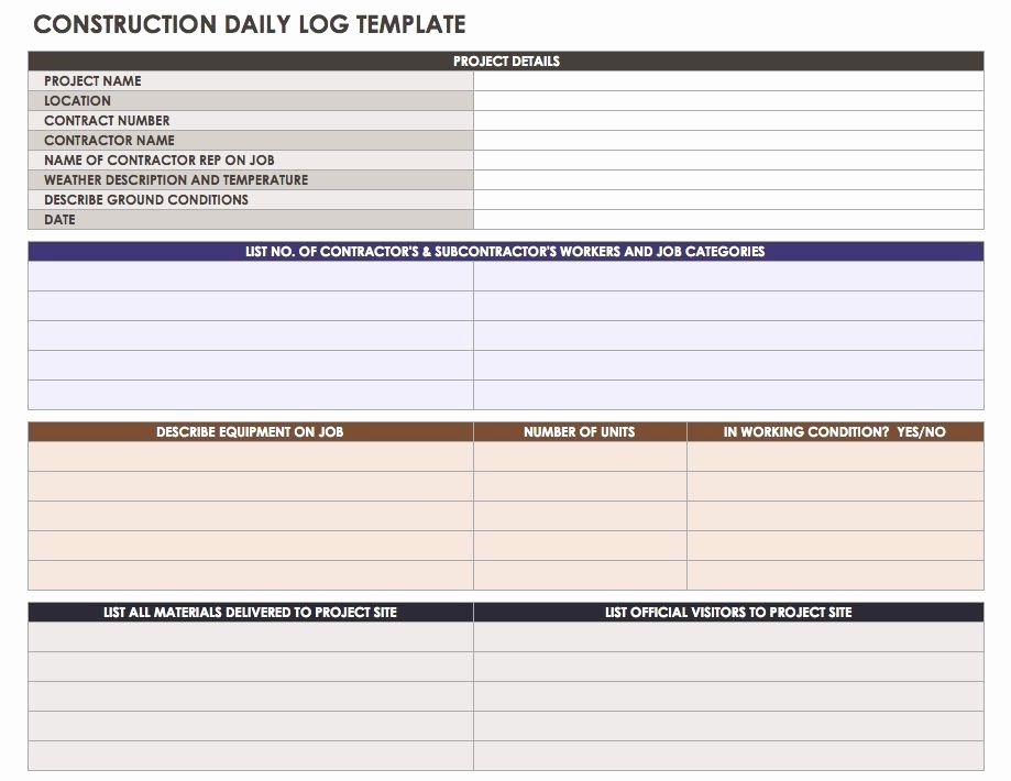 Construction Daily Log Template Unique Project Management