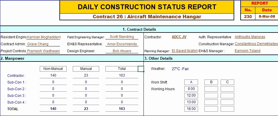 Construction Daily Report Template Excel Beautiful Construction Daily Report Template Excel