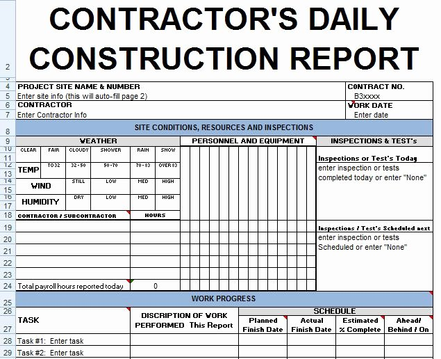 Construction Daily Report Template Excel Best Of Contractors Daily Report Template Excel Civil