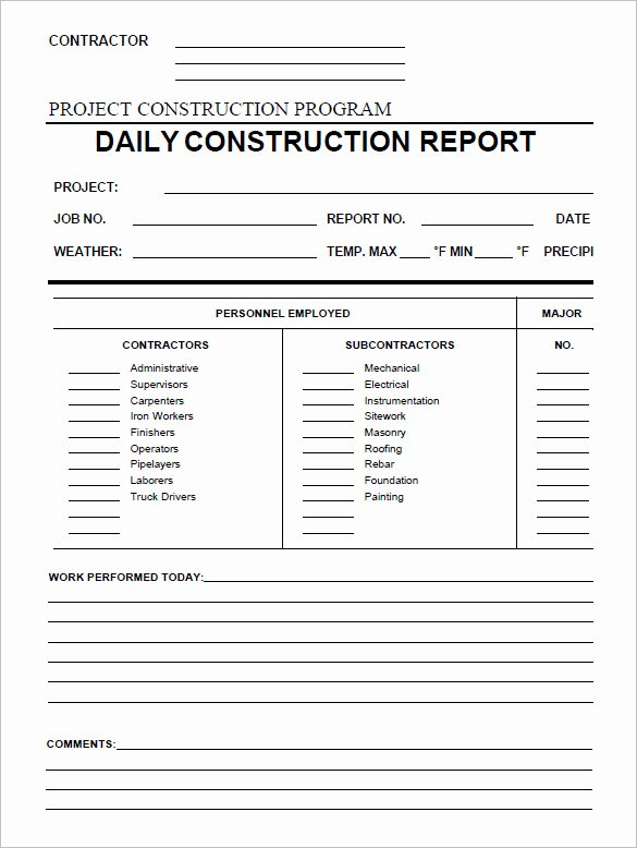 Construction Daily Report Template Excel Lovely 24 Daily Construction Report Templates Pdf Google Docs