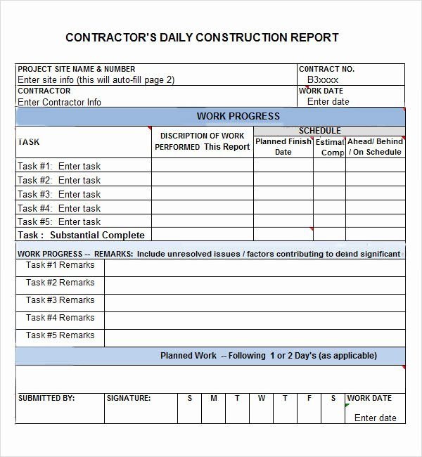 Construction Daily Report Template Excel Lovely Daily Report 7 Free Pdf Doc Download