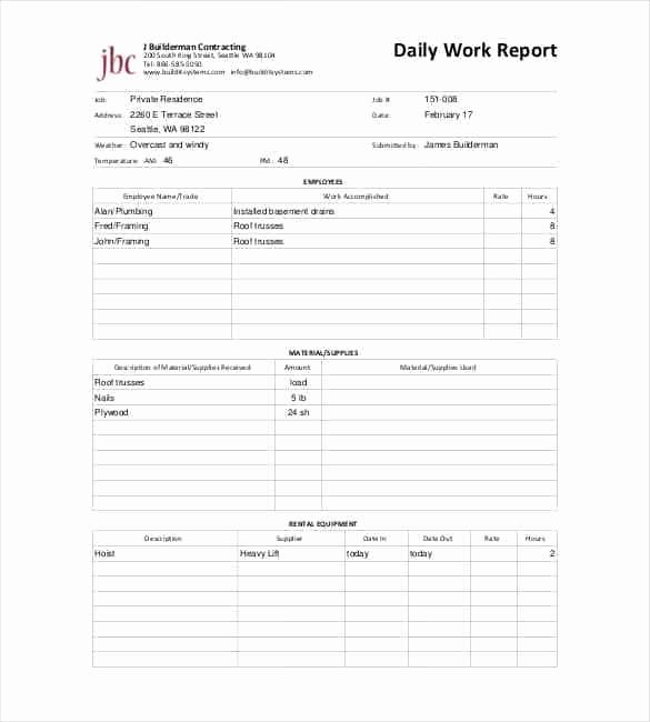 Construction Daily Report Template Excel New Daily Report Templates 8 Free Samples Excel Word