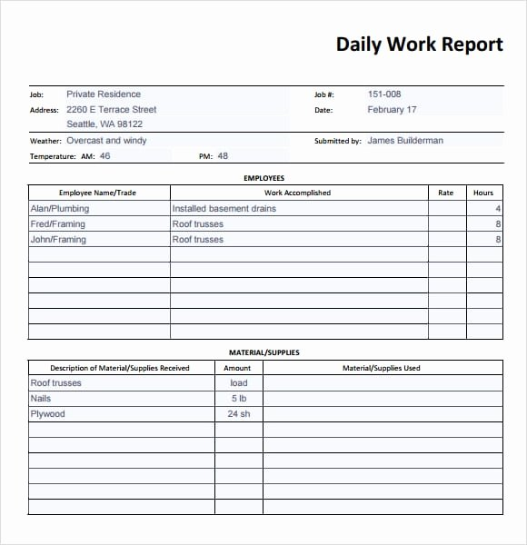 Construction Daily Report Template Excel Unique Microsoft Word Field Report Template the Best Free