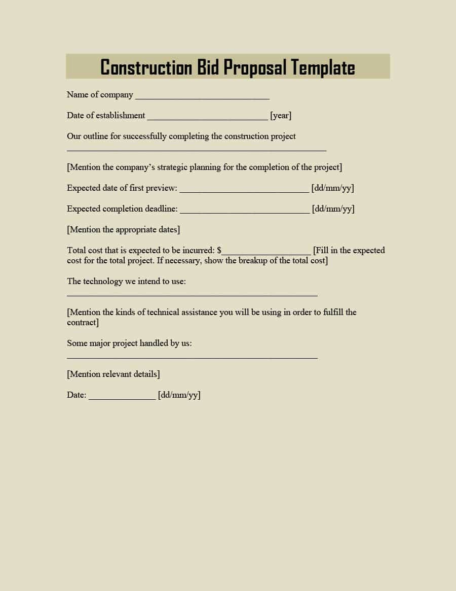 Construction Proposal Template Free Fresh 31 Construction Proposal Template & Construction Bid forms