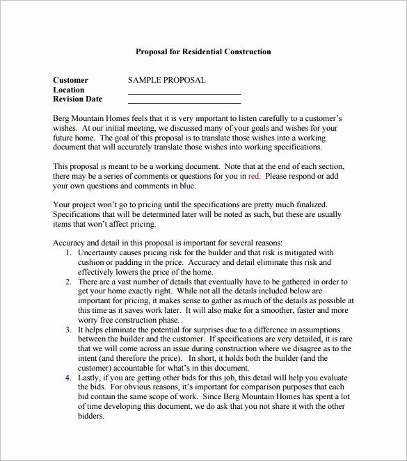 Construction Proposal Template Free Inspirational Construction Proposal Template