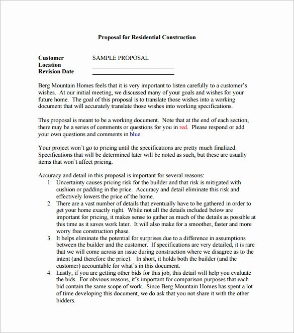 Construction Proposal Template Free Lovely 17 Construction Proposal Templates Word Pdf Excel