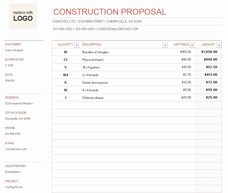Construction Proposal Template Free Lovely 9 Free Sample Construction Proposal Templates Printable