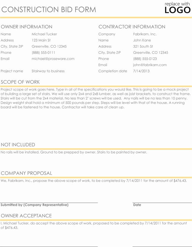Construction Proposal Template Free Unique Construction Proposal & Quote Templates Download In