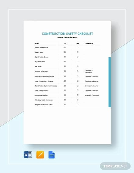 Construction Safety Plan Template Best Of Free 15 Construction Checklist Samples and Templates In