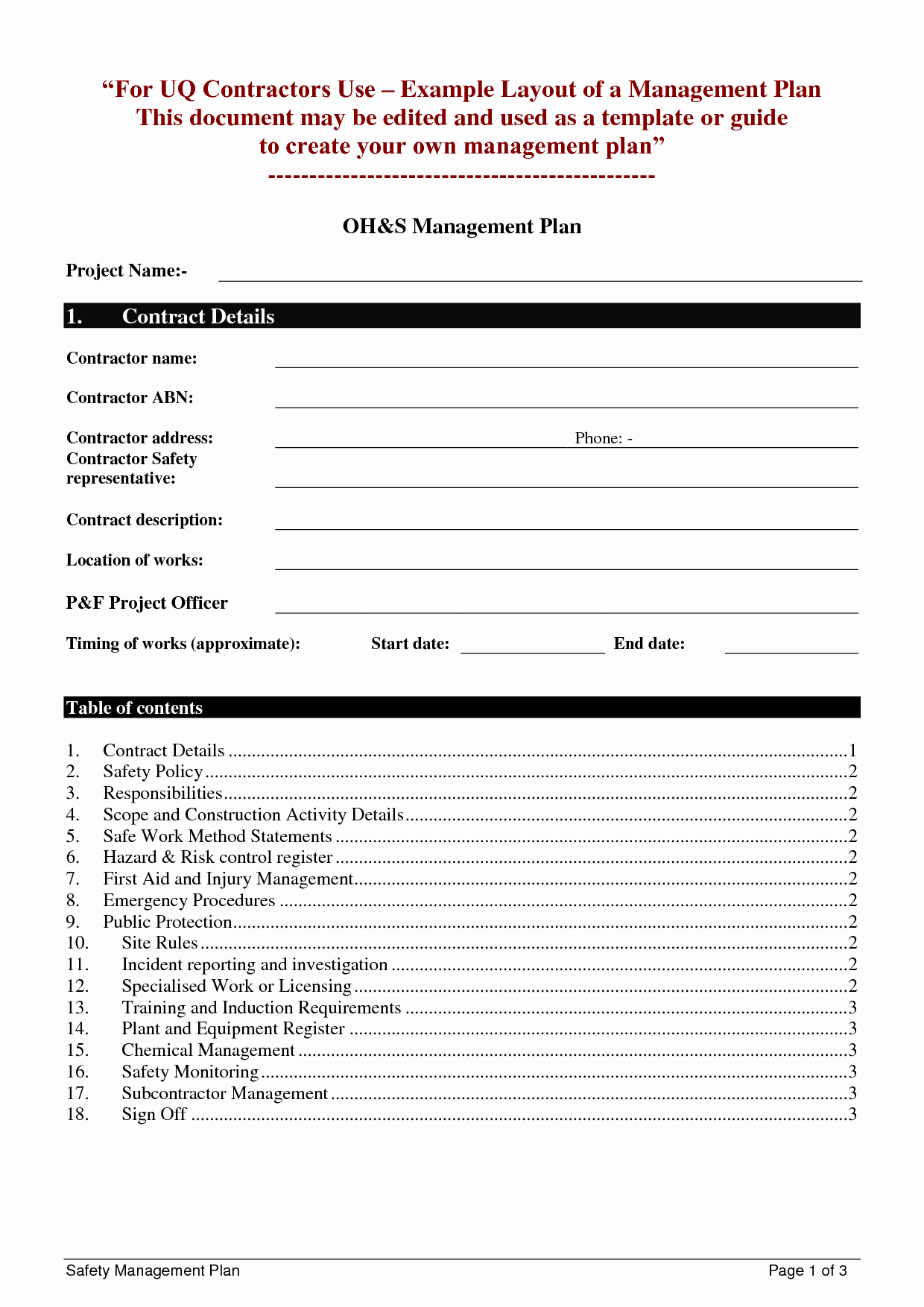 Construction Safety Plan Template Elegant Safety Plan Template