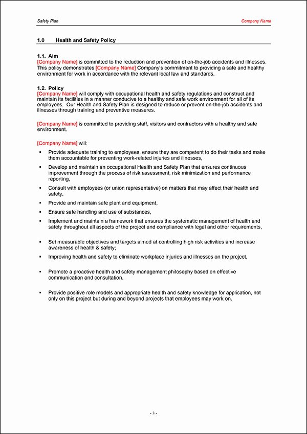Construction Safety Plan Template Luxury Safety Plan Template