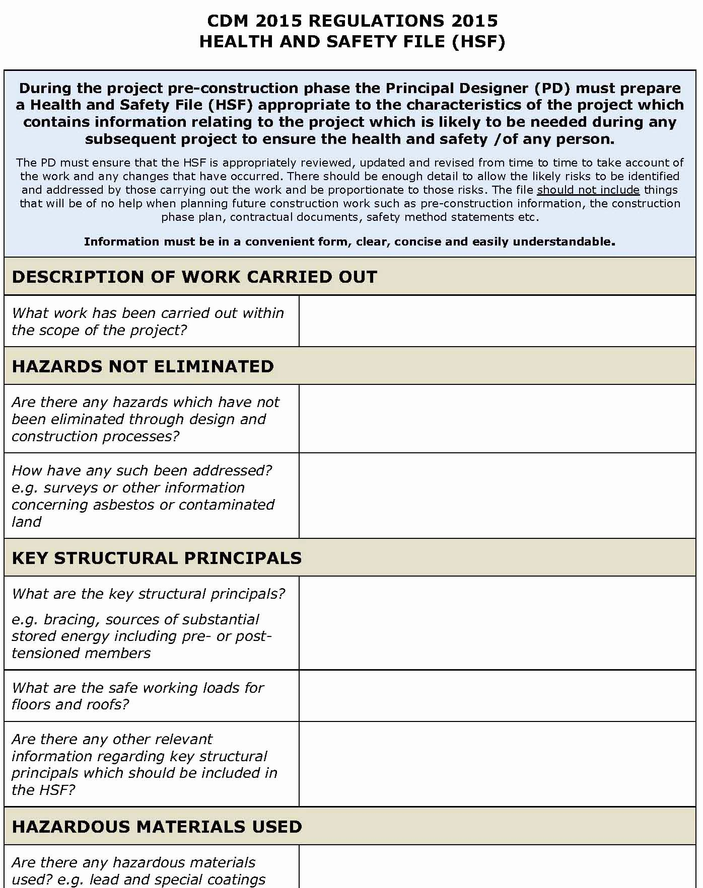 Construction Safety Plan Template New Cdm Regulations 2015 H&s File Template