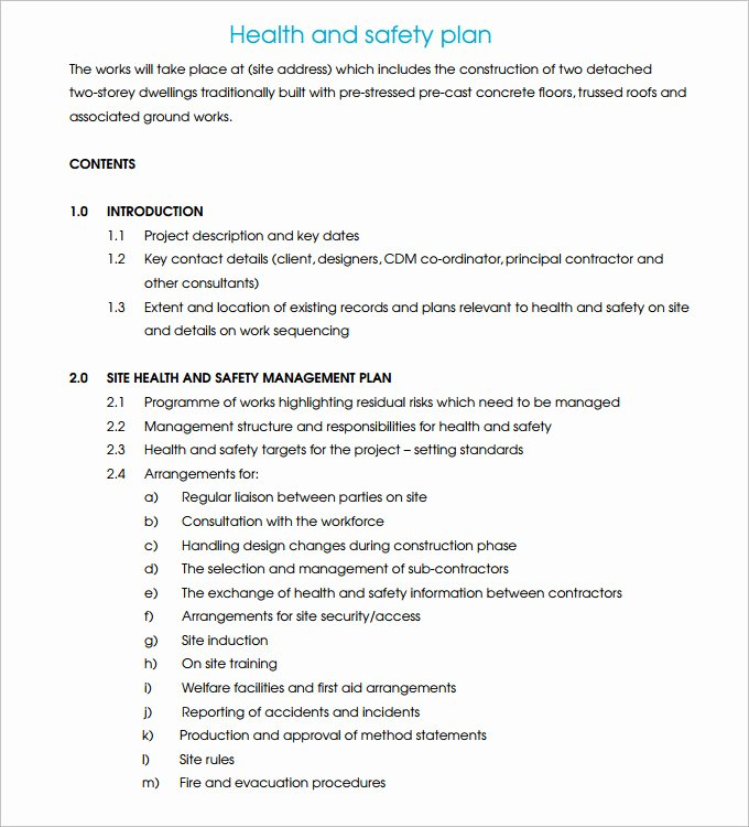 Construction Safety Plan Template New Safety Plan Template