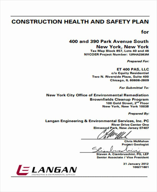Construction Safety Plan Template Unique 12 Safety Plan Samples & Templates In Pdf Word