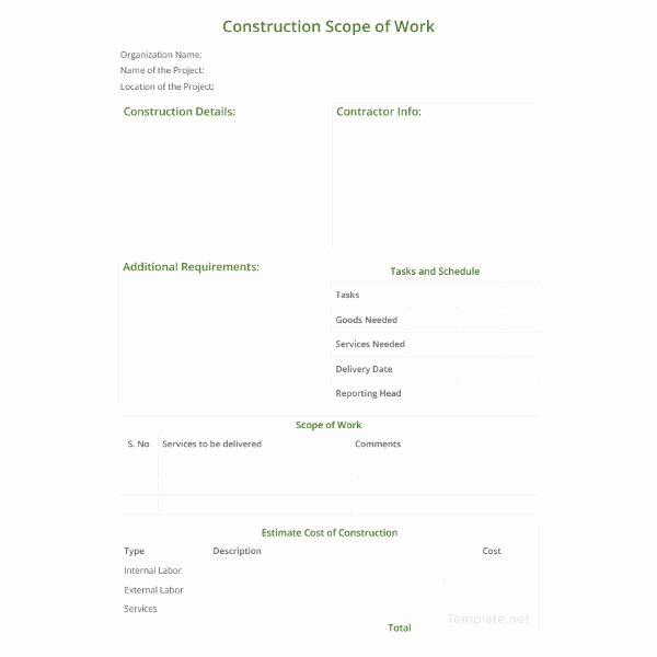 Construction Scope Of Work Template Best Of Scope Of Work Template 36 Free Word Pdf Documents