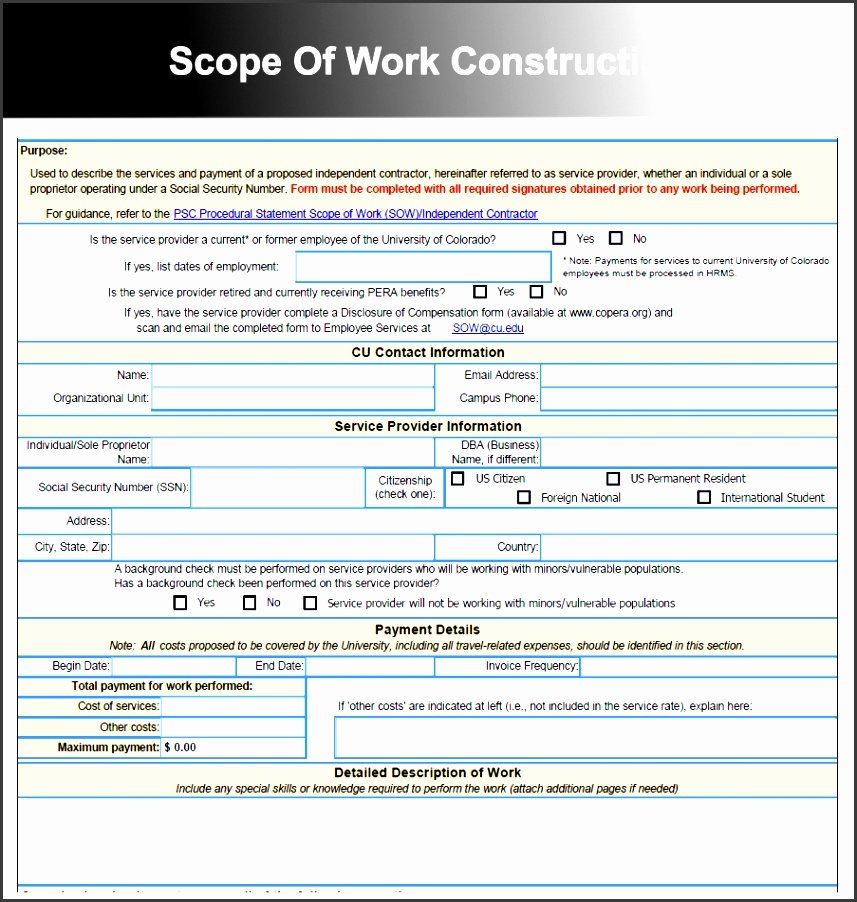 Construction Scope Of Work Template Fresh 8 Construction Scope Work Downloadable for Free