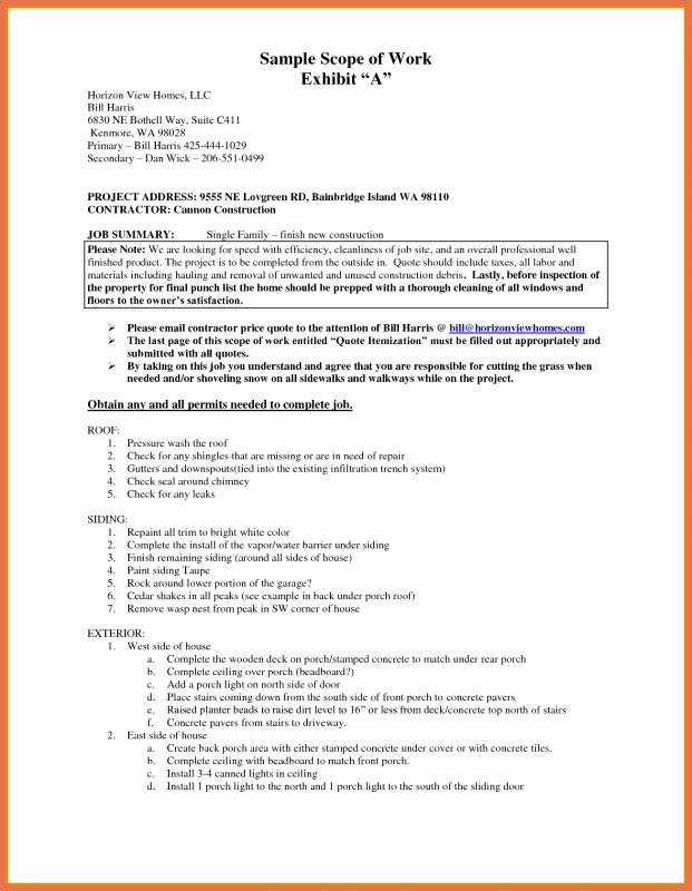 Construction Scope Of Work Template Inspirational Construction Scope Work Template
