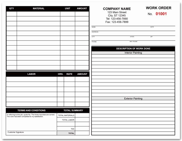 Construction Work order Template Fresh Painting Contractor Work order form