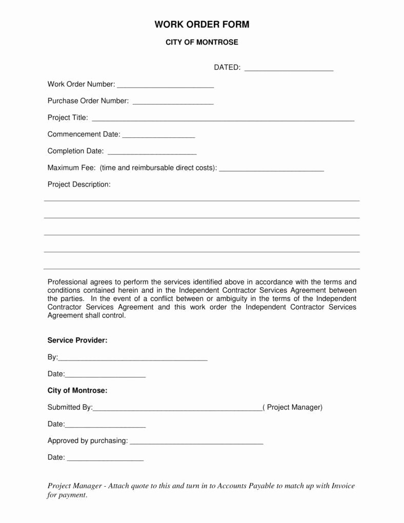 Construction Work order Template Luxury 7 Independent Contractor Invoice Templates Pdf Word
